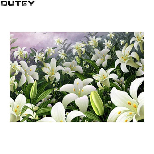5D Diamond Painting Field of White Lilies Kit