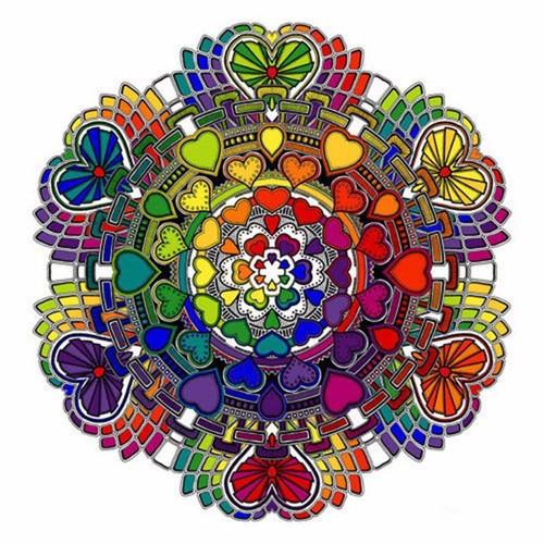 5D Diamond Painting Rainbow Heart Mandala Kit