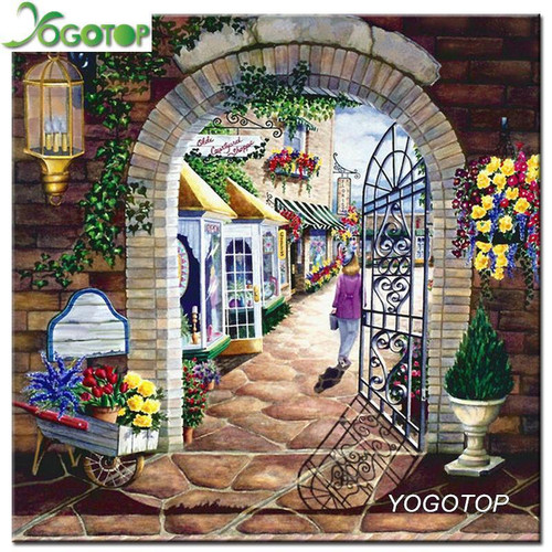 5D Diamond Painting Gate to the Shops Kit