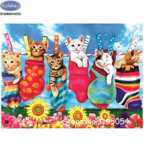5D Diamond Painting Kittens on the Clothesline Kit