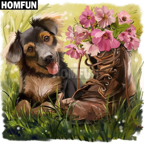 5D Diamond Painting Puppy with a Flower Boot Kit