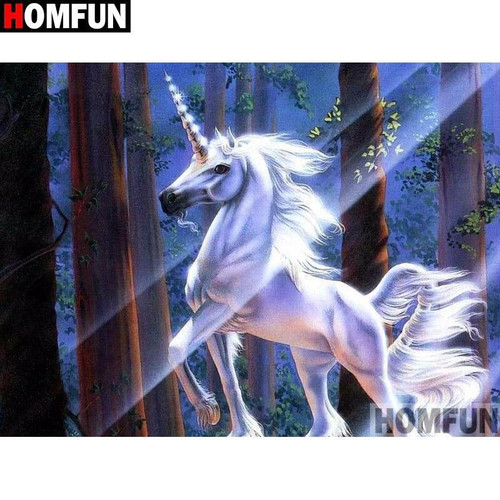 5D Diamond Painting White Unicorn in the Forest Kit