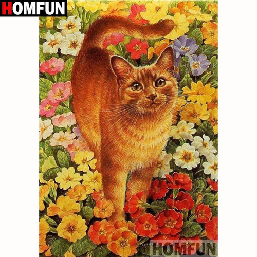 5D Diamond Painting Orange Tabby Cat in the Flowers Kit