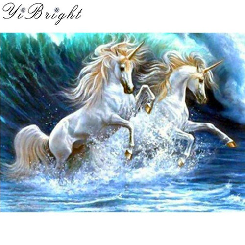 5D Diamond Painting Two White Unicorns Kit