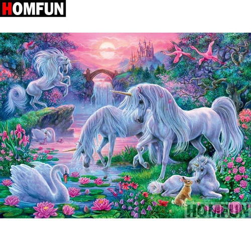 5D Diamond Painting Four Unicorns and a Swan Kit