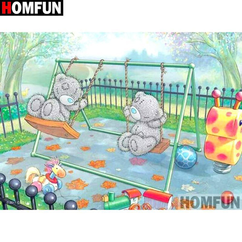 5D Diamond Painting Stuffed Bears Swing Kit