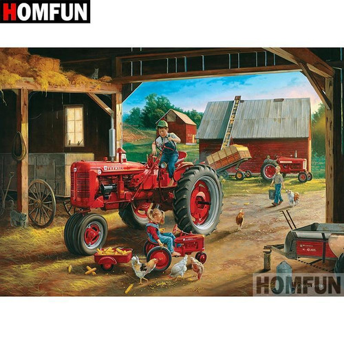 5D Diamond Painting Red Tractor in the Barn Kit