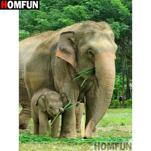 5D Diamond Painting Elephants Eating Kit