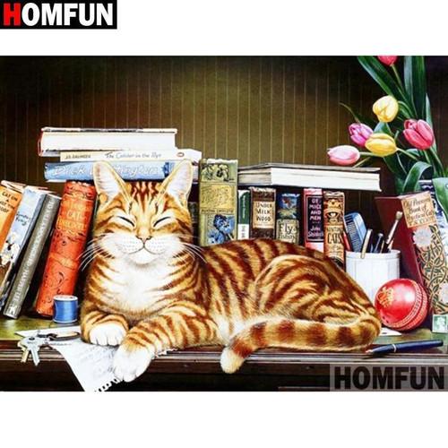 5D Diamond Painting Cat on a Book Shelf Kit