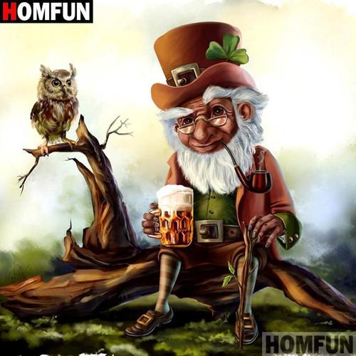 5D Diamond Painting Leprechaun and the Owl Kit