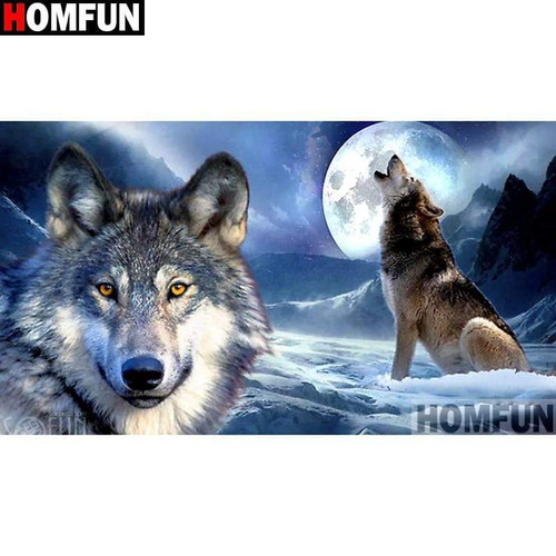 5D Diamond Painting Two Wolves and the Moon Kit
