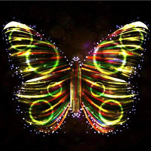 5D Diamond Painting Glowing Circle Abstract Butterfly Kit