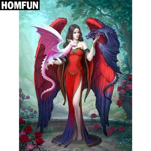 5D Diamond Painting Two Dragon Angel Kit