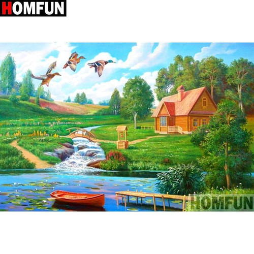 5D Diamond Painting Three Ducks and a Canoe Kit