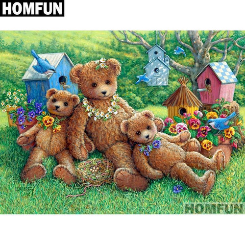 5D Diamond Painting Stuffed Bears and Birdhouses Kit