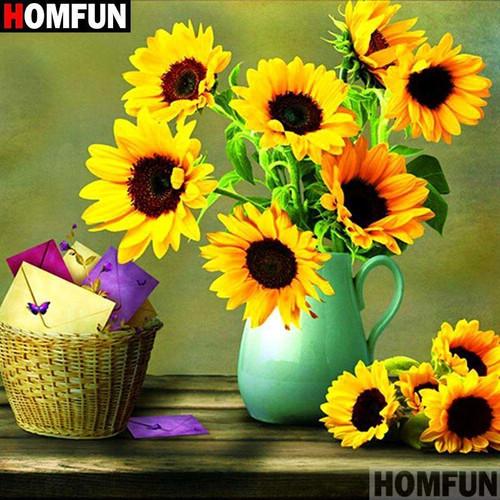 5D Diamond Painting Green Vase of Sunflowers Kit