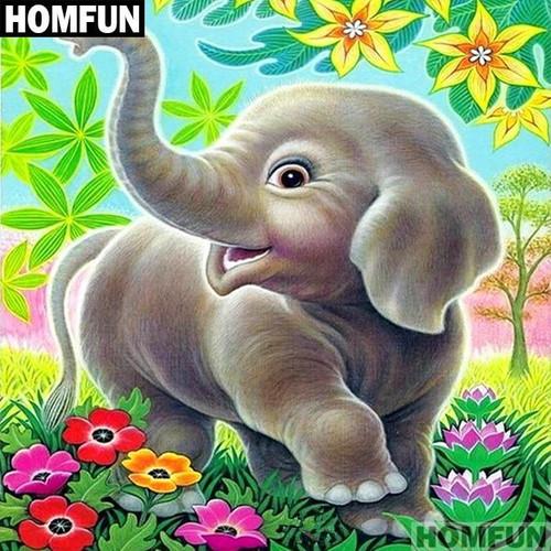 5D Diamond Painting Cartoon Baby Elephant Kit