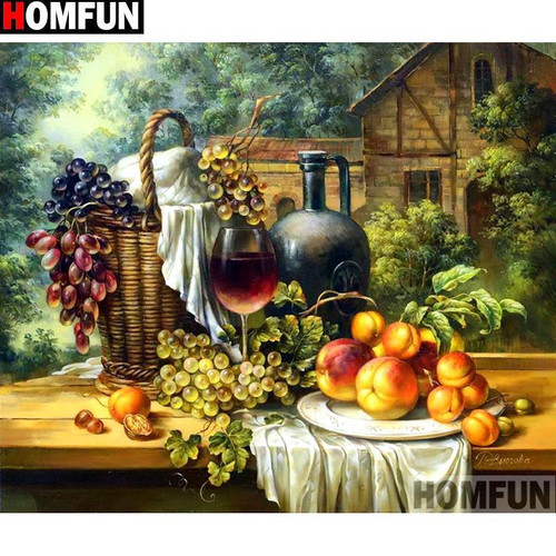 5D Diamond Painting Grapes, Wine and Peaches Kit