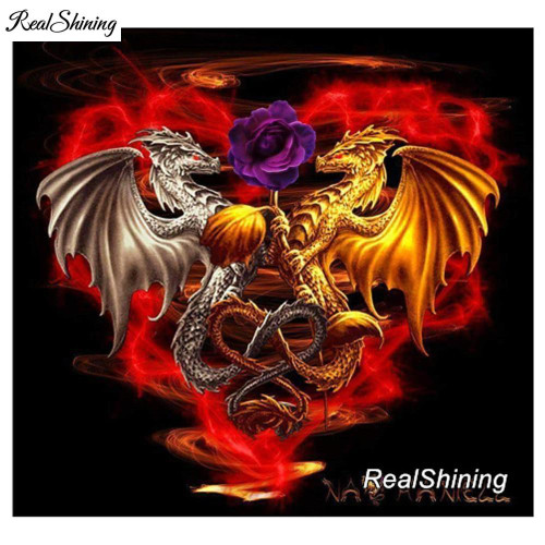 5D Diamond Painting Gold and Silver Dragon Heart kit