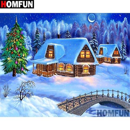 5D Diamond Painting Snowy Holiday Home Kit