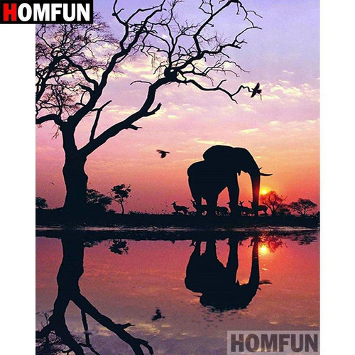 5D Diamond Painting Sunset Elephant Silhouette Kit