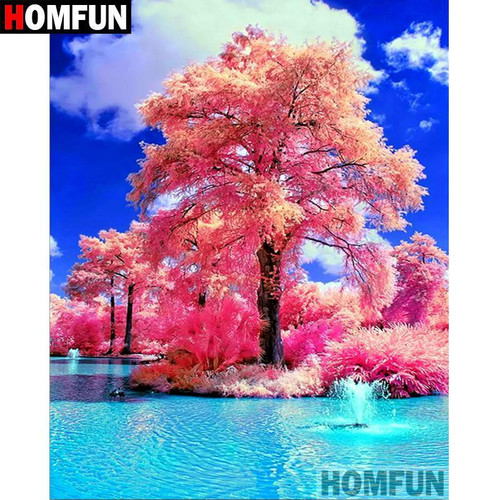 5D Diamond Painting Pink Trees and Blue Water Kit