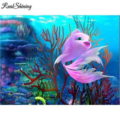 5D Diamond Painting Pink Fish Kit