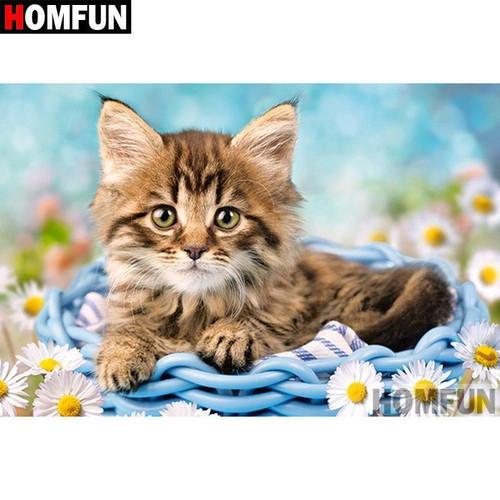 5D Diamond Painting Kitten in a Blue Basket Kit