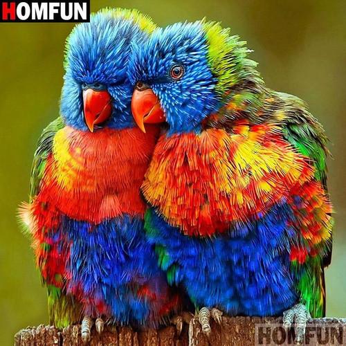 5D Diamond Painting Two Orange Beak Colorful Birds Kit