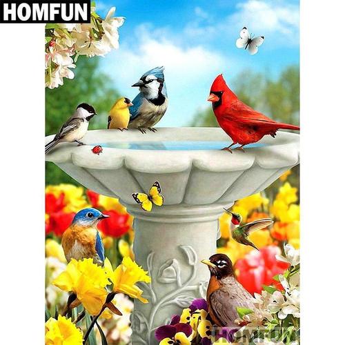 5D Diamond Painting Birds at the Fountain Kit