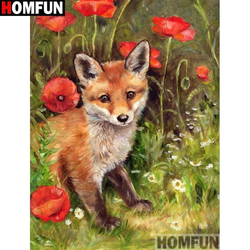 5D Diamond Painting Red Fox in the Poppies Kit