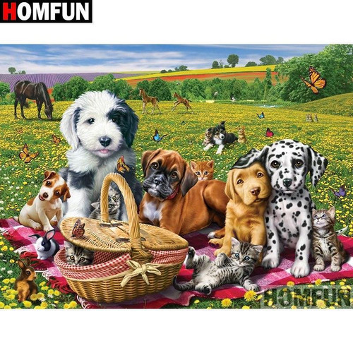 5D Diamond Painting Dog Picnic in the Meadow Kit