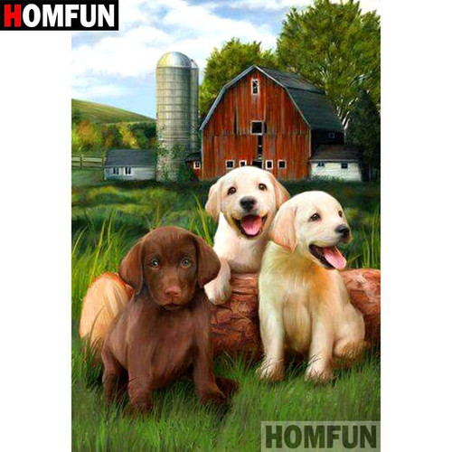 5D Diamond Painting Red Barn Puppies Kit