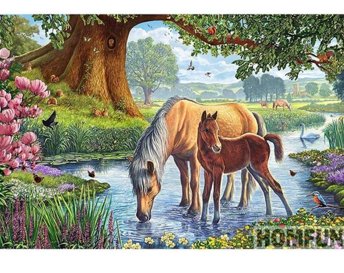 5D Diamond Painting Horse and Foal in the Stream Kit