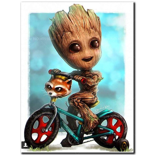5D Diamond Painting Groot on a Bicycle Kit