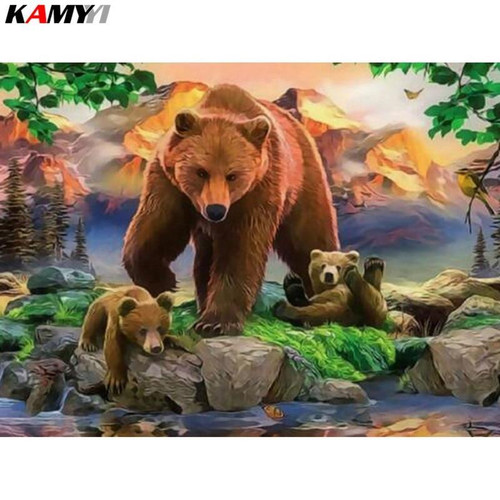 5D Diamond Painting Bear and her Cubs by the Water Kit