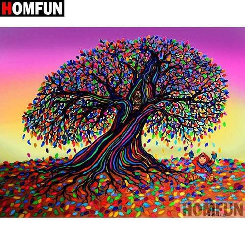 5D Diamond Painting Abstract Rainbow Leaf Tree Kit