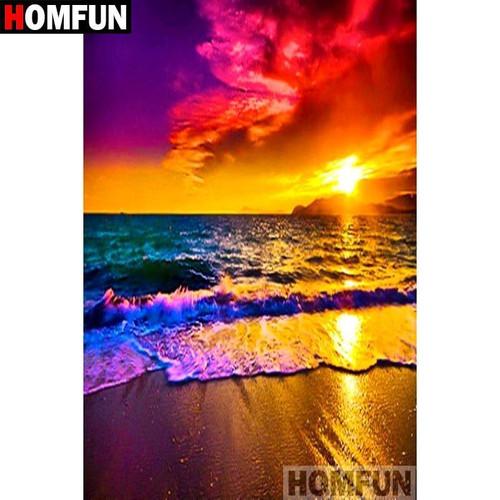 5D Diamond Painting Bright Ocean Sunset Kit