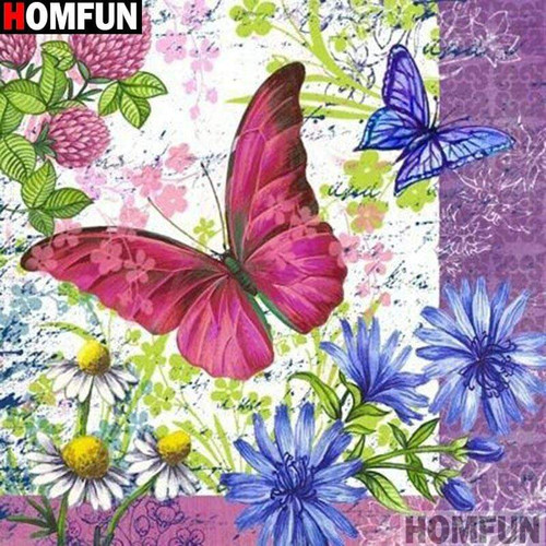 5D Diamond Painting Pink and Blue Butterflies Kit
