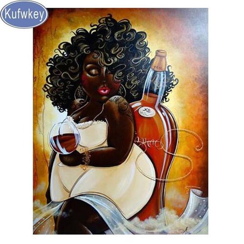 5D Diamond Painting Curvy Girl Yellow Dress and Wine Kit