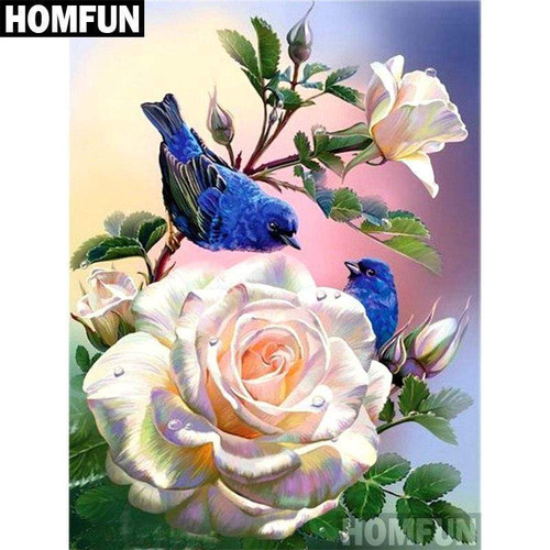 5D Diamond Painting Blue Birds and Roses Kit