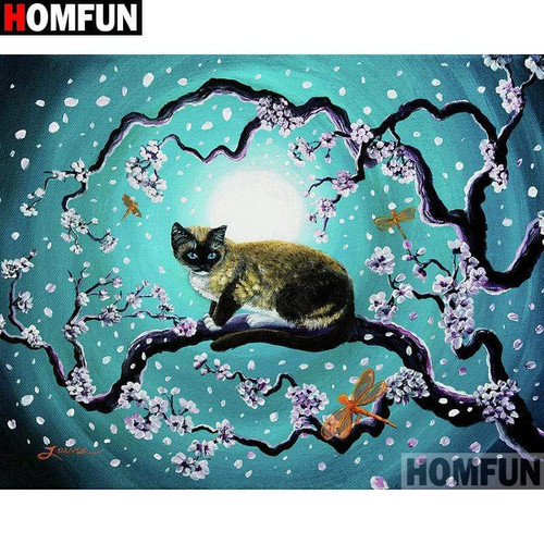 5D Diamond Painting Siamese Cat and the Moon Kit