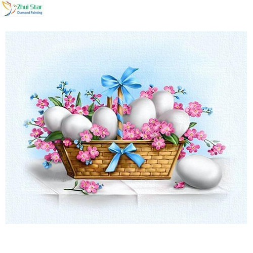 5D Diamond Painting Easter Basket with Eggs and Pink Flowers Kit