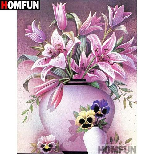 5D Diamond Painting Pink Vase of Lilies Kit
