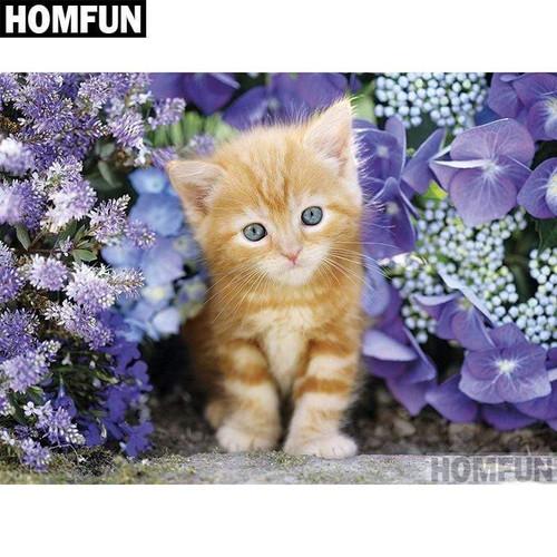 5D Diamond Painting Striped Kitten in Purple Flowers Kit