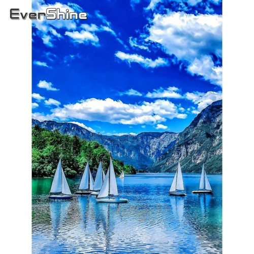 5D Diamond Painting Sail Boats on the Lake Kit