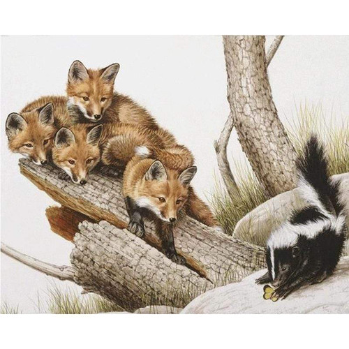 5D Diamond Painting Foxes and a Skunk Kit