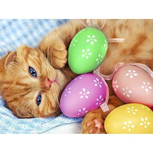 5D Diamond Painting Easter Egg Kitten Kit