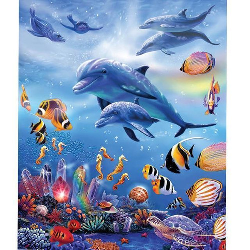 5D Diamond Painting Dolphins and Tropical Fish kit
