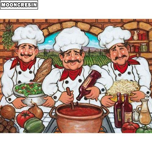 5D Diamond Painting Three Italian Chefs Kit